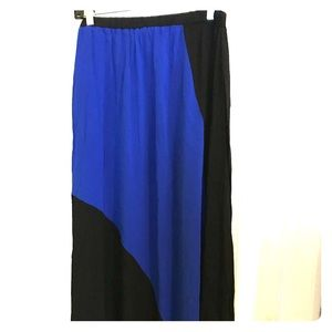 Black and blue maxi skirt